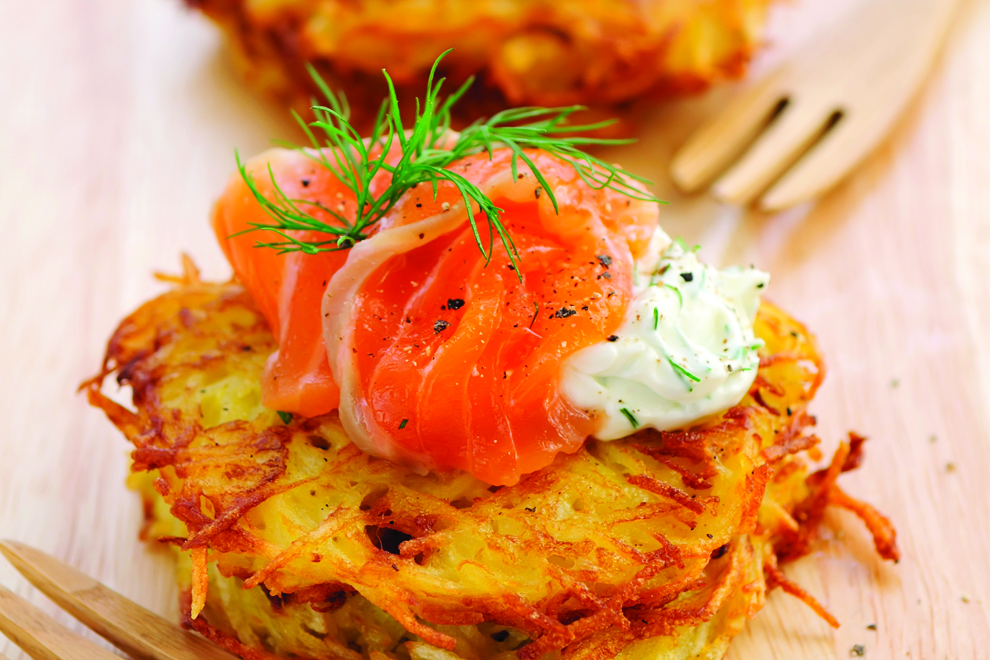 Oster CookBook: Knusprige Kartoffelpuffer mit Lachs