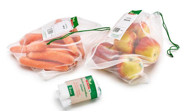 Die Supermarktkette Spar hat jetzt Mehrwegsackerl für Obst und Gemüse