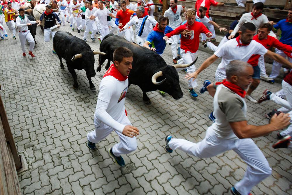 Fünf Verletzte bei erstem Stierlauf in Spanien