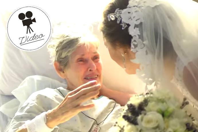 Braut besucht kranke Großmutter im Spital
