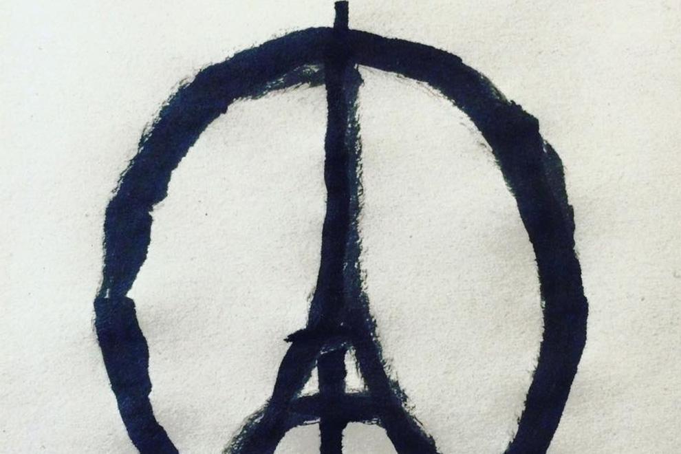 Eiffelturm & Peace-Zeichen als Sinnbild der Solidarität