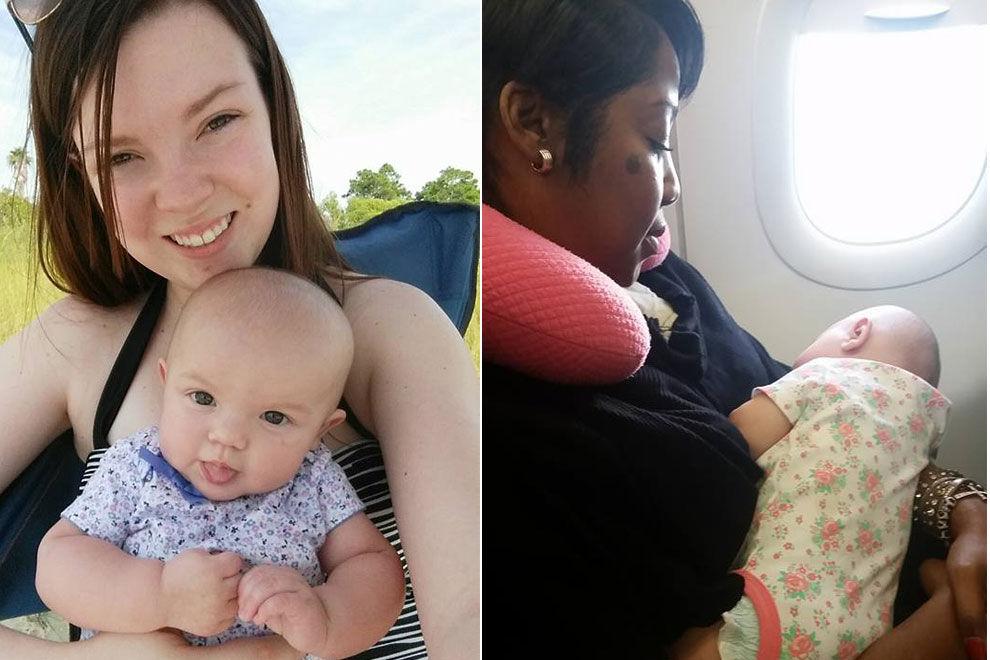 Frau hilft Mutter mit kreischendem Säugling im Flugzeug
