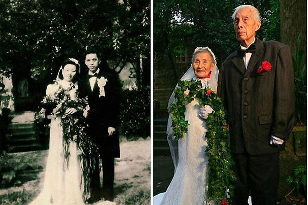 Paar stellt eigenes Hochzeitsfoto nach