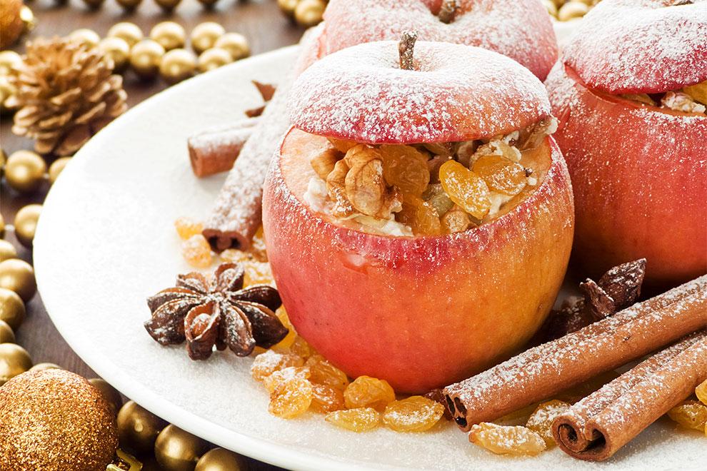 Bratapfel mit Zimt und Nusspaste