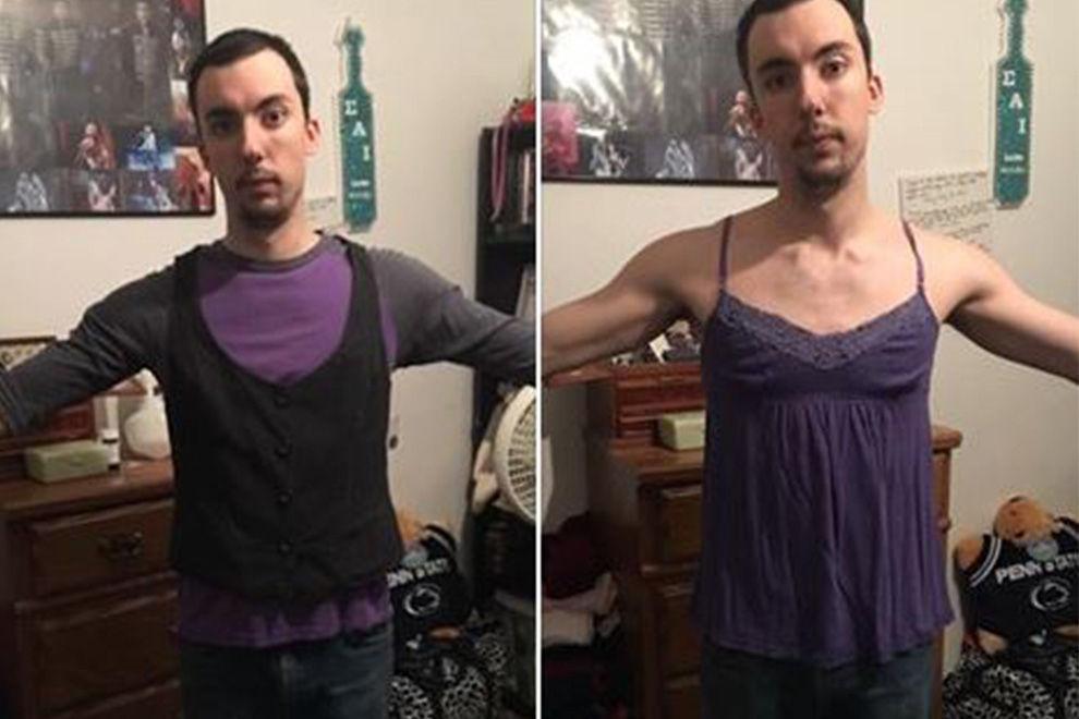 XXL-Lüge: Dieser Mann probiert die Kleider seiner Freundin an und ist entsetzt