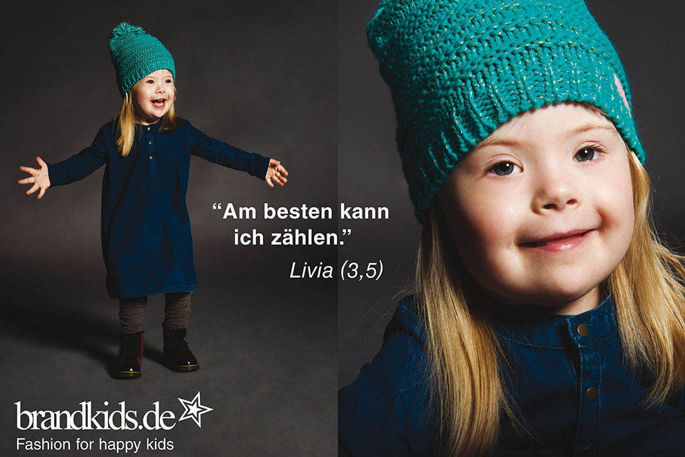 Kids mit Down-Syndrom modeln für Kindermode