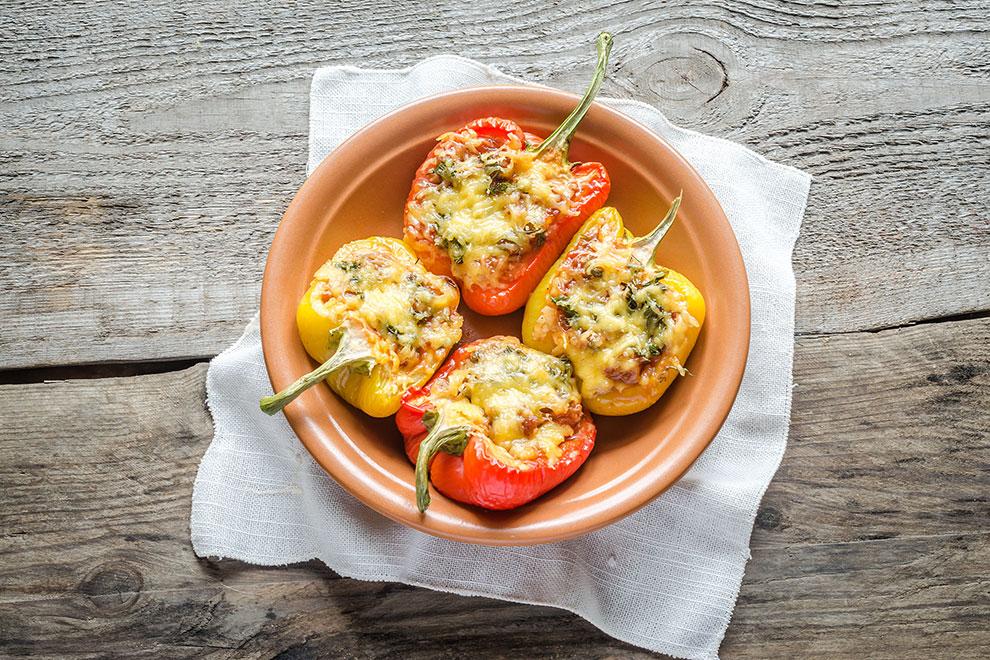 Paprika mit Spinat-Reis-Füllung