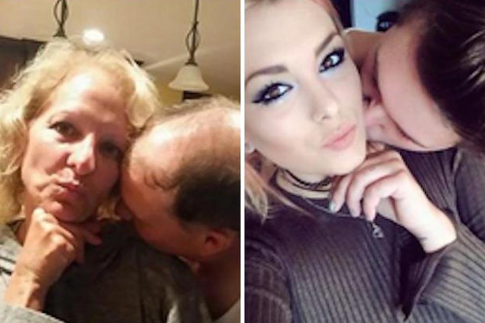 Eltern stellen die Selfies ihrer Tochter nach