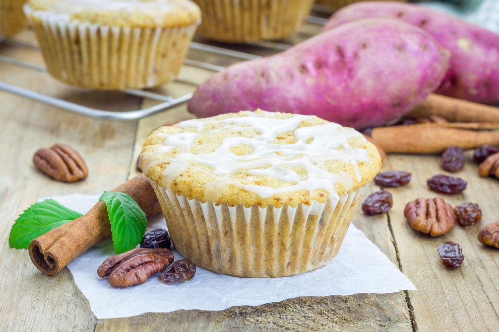 Süßkartoffel-Muffins mit Pecanstreusel
