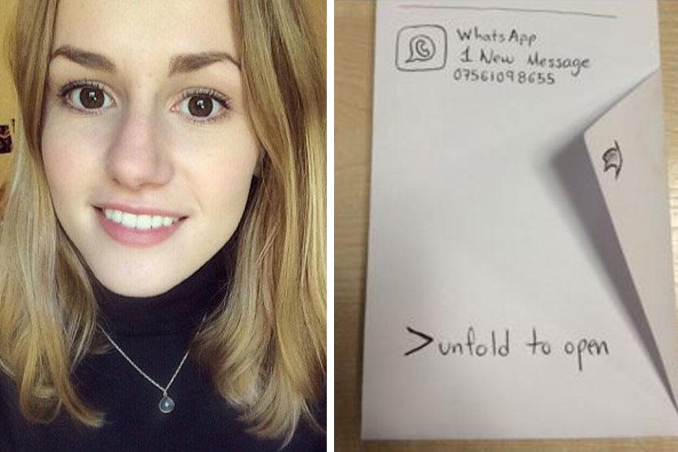 Student fragt junge Frau mit handgezeichneter Whats-App-Nachricht nach einem Date