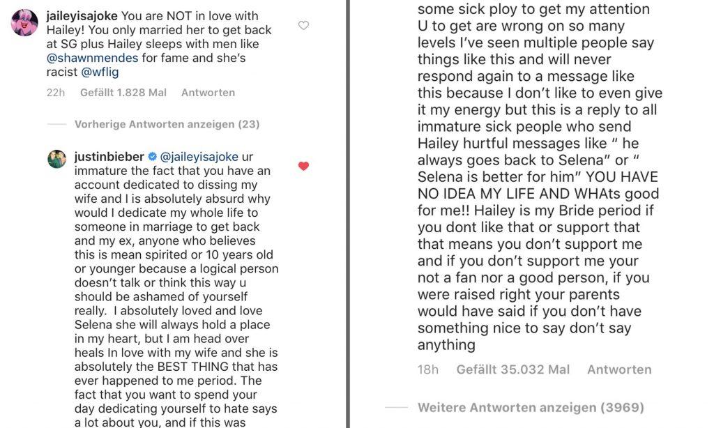Justin Bieber Instagram Kommentar