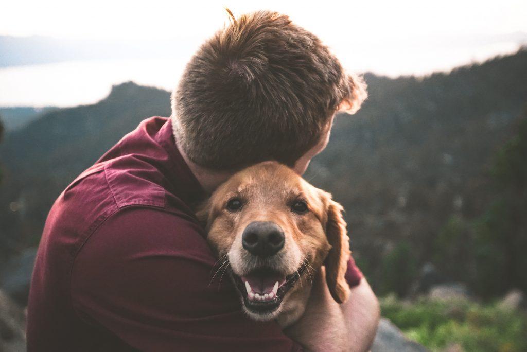 Mann kuschelt mit Hund und stirbt