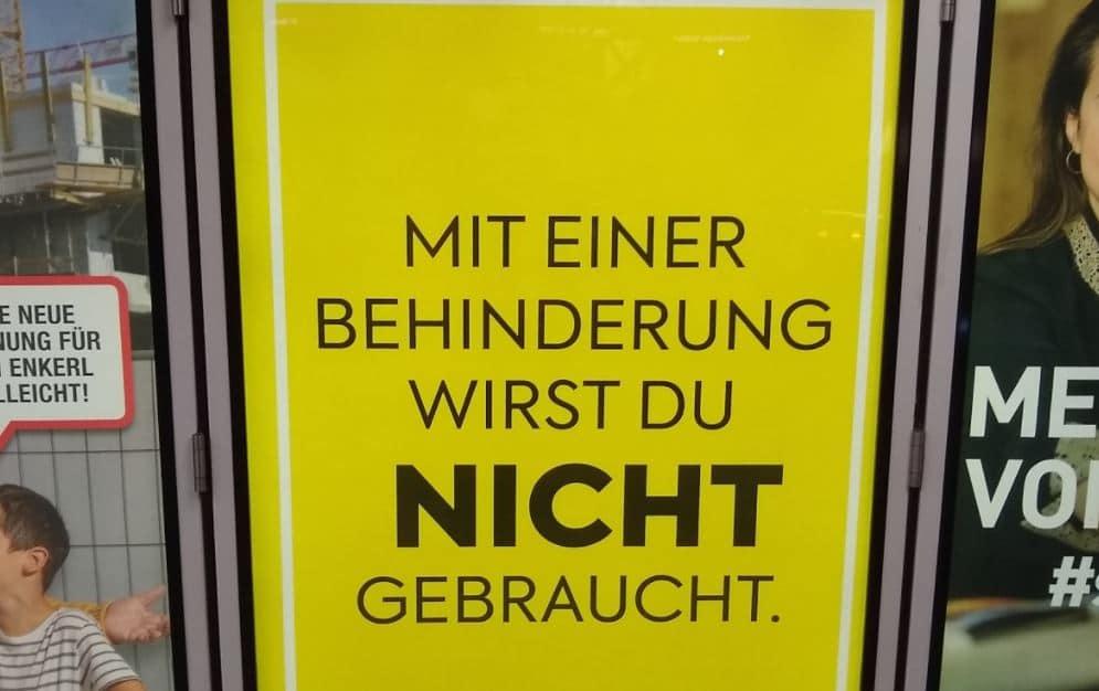 """""""Mit einer Behinderung wirst du nicht gebraucht"""": Dieses Werbeplakat sorgt für heftige Kritik"""